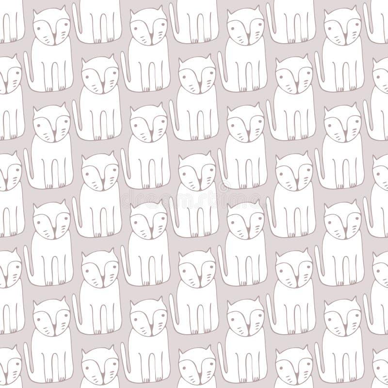 逗人喜爱的单色猫 动画片传染媒介无缝的样式 库存例证