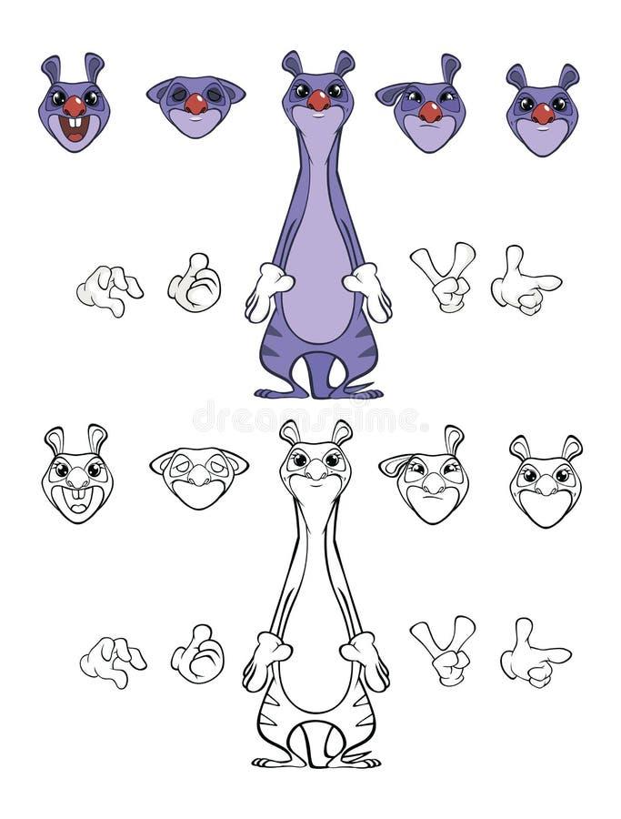 逗人喜爱的卡通人物猫鼬的传染媒介例证您的设计和电脑游戏 r 皇族释放例证
