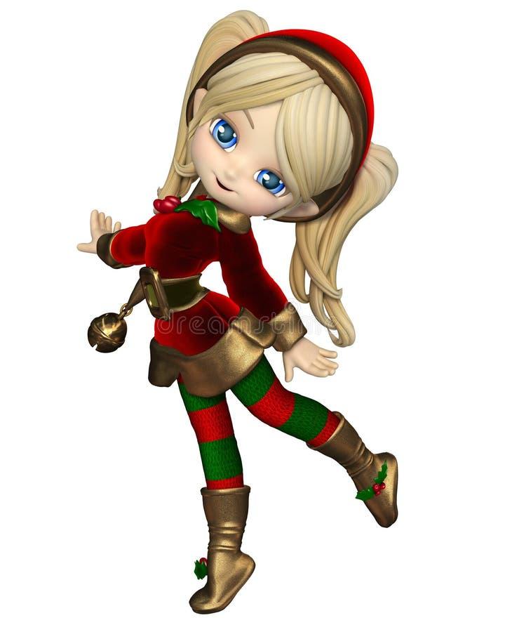 逗人喜爱的印度桃花心木圣诞节矮子女孩 皇族释放例证