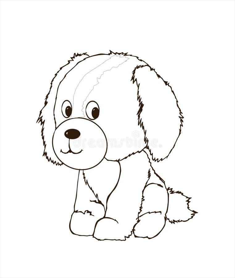 逗人喜爱的友好的小狗,小狗动物,动物界,例证,狗头象征,paiting的彩图,儿童图书 向量例证