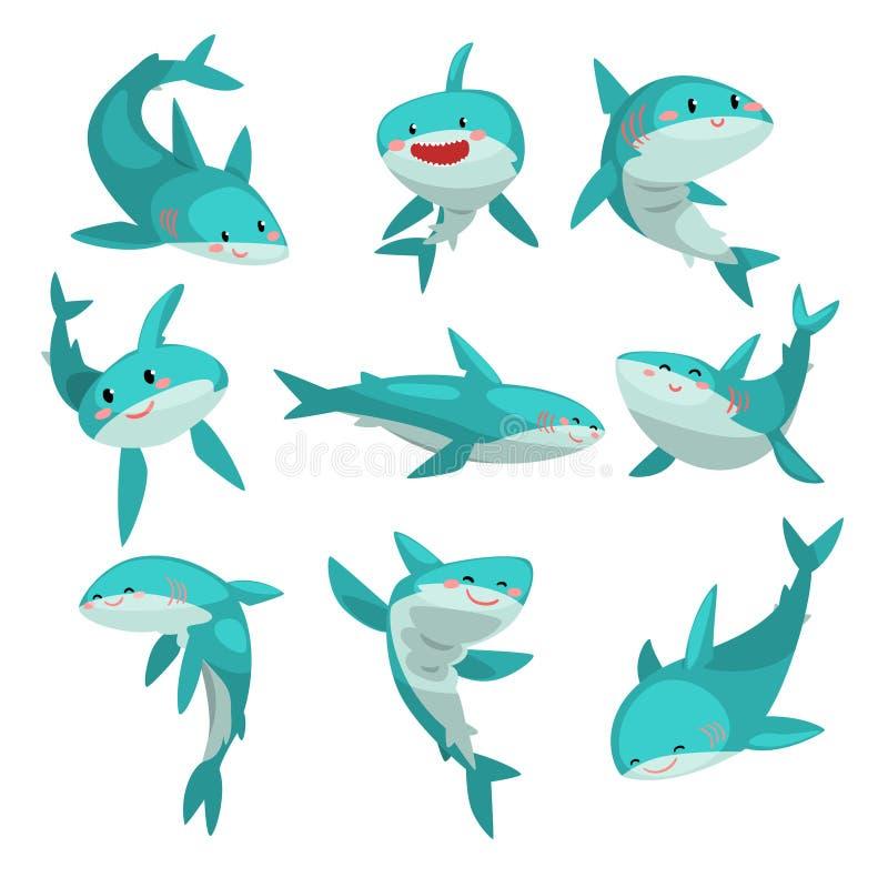 逗人喜爱的友好的鲨鱼设置了,在白色背景的逗人喜爱的滑稽的海洋动物漫画人物传染媒介例证 皇族释放例证