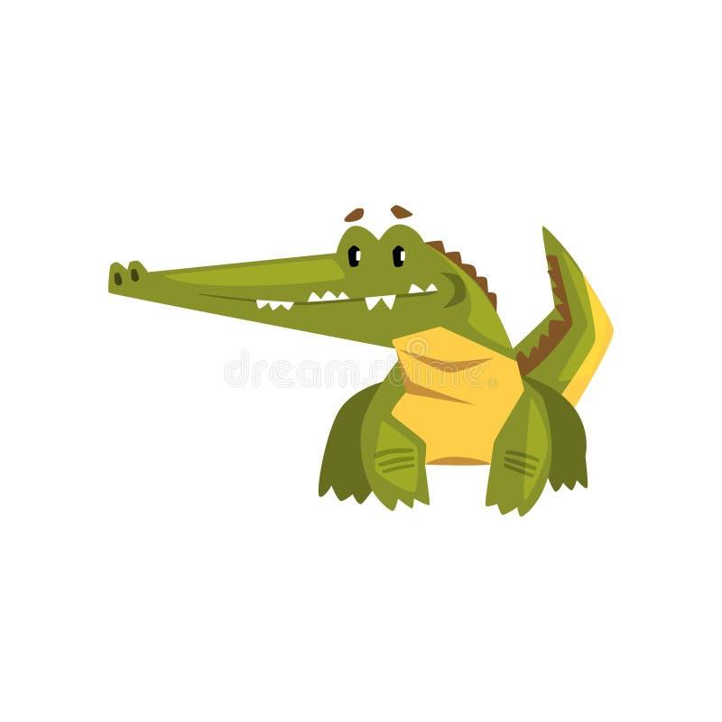 逗人喜爱的友好的鳄鱼,在白色背景的滑稽的食肉动物的卡通人物传染媒介例证 库存例证
