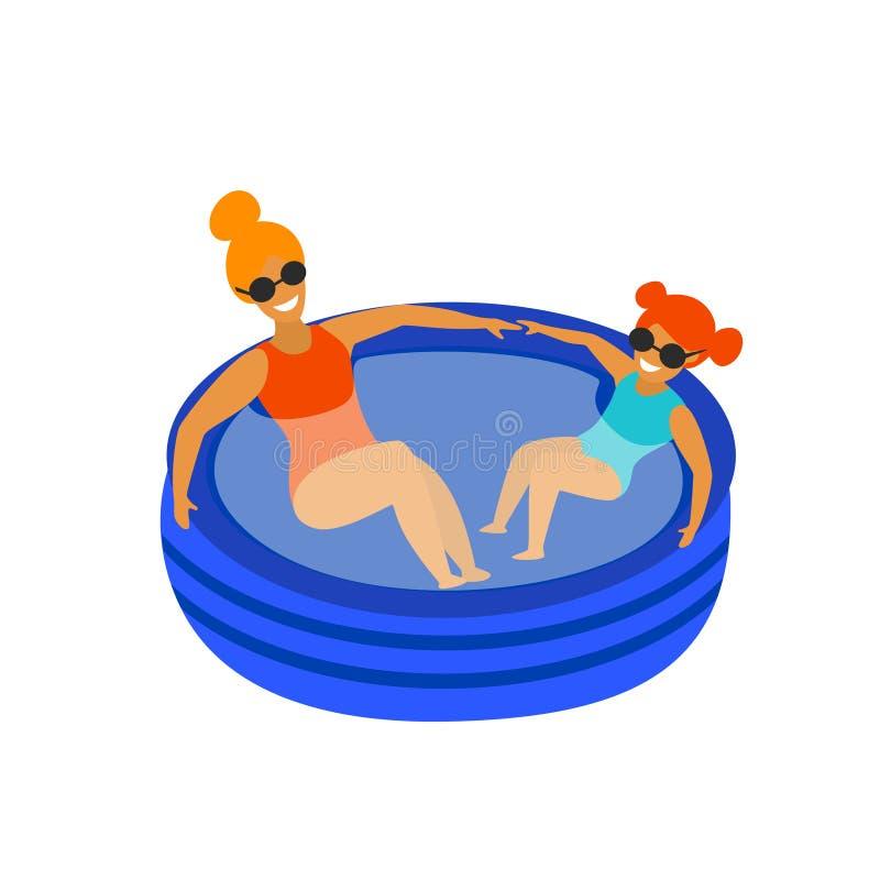 逗人喜爱的变冷在可膨胀的水池的母亲和女儿 库存例证