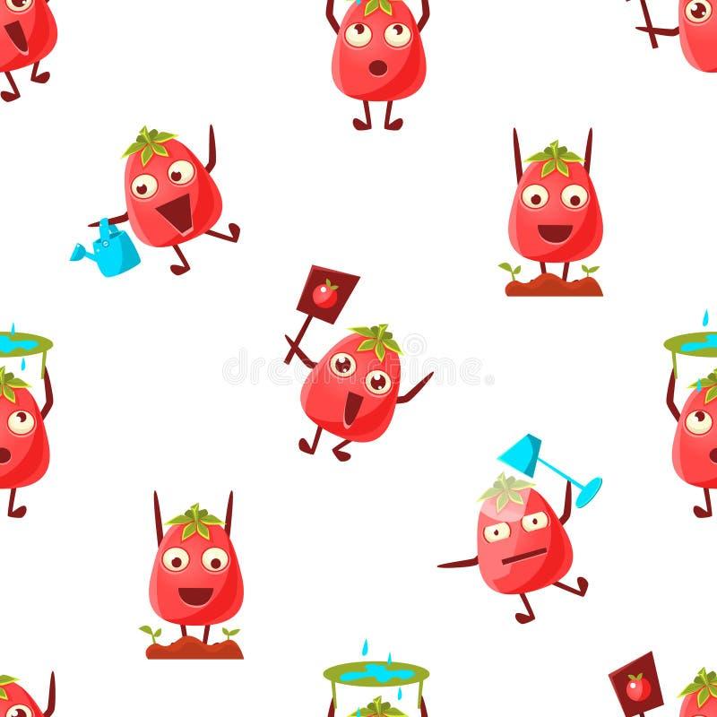 逗人喜爱的可以使用蕃茄字符无缝的样式,滑稽的情感菜用不同的情况,设计元素 向量例证