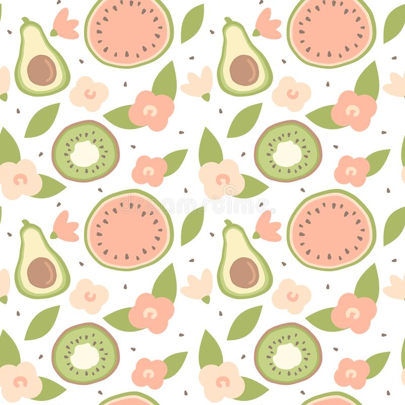 逗人喜爱的可爱的动画片夏天无缝的传染媒介样式背景例证用手拉的鲕梨、西瓜、猕猴桃和花 库存例证