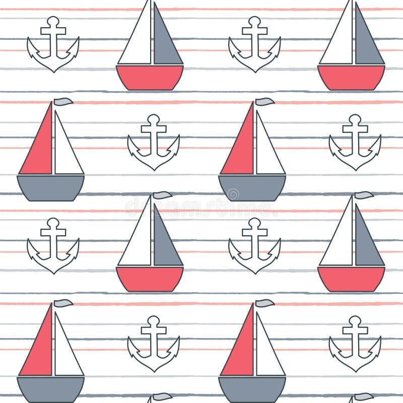 逗人喜爱的可爱的动画片夏天海军陆战队员镶边了与小船和船锚的无缝的传染媒介样式背景例证 向量例证