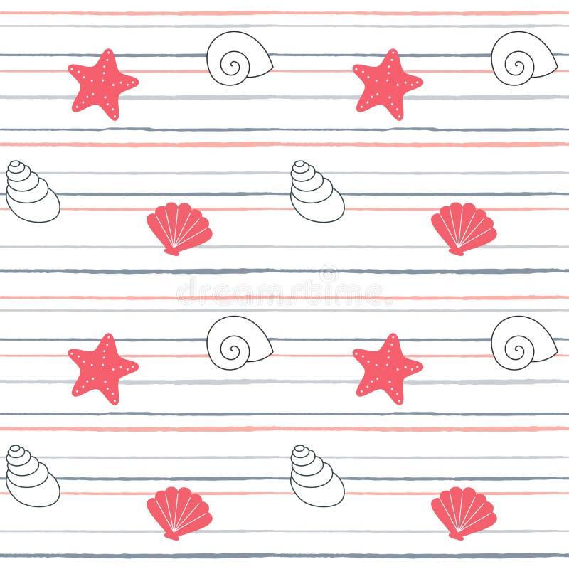 逗人喜爱的可爱的动画片夏天海军陆战队员镶边了与贝壳和海星的无缝的传染媒介样式背景例证 皇族释放例证