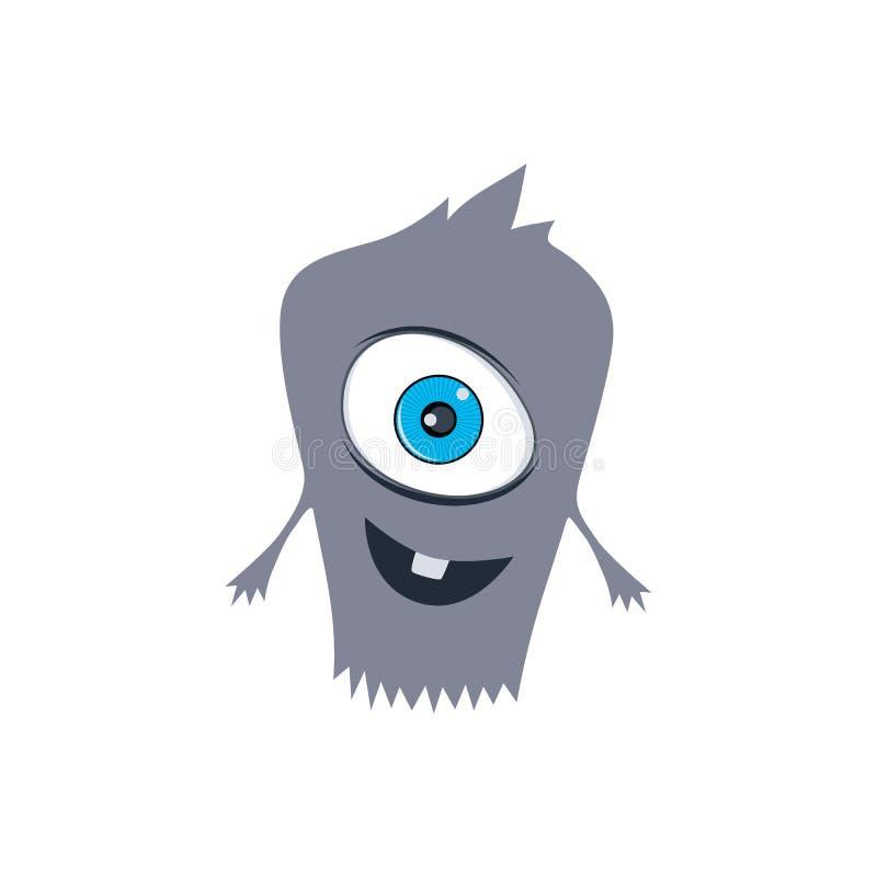 逗人喜爱的可爱的可怕妖怪动画片虚构人物 向量例证
