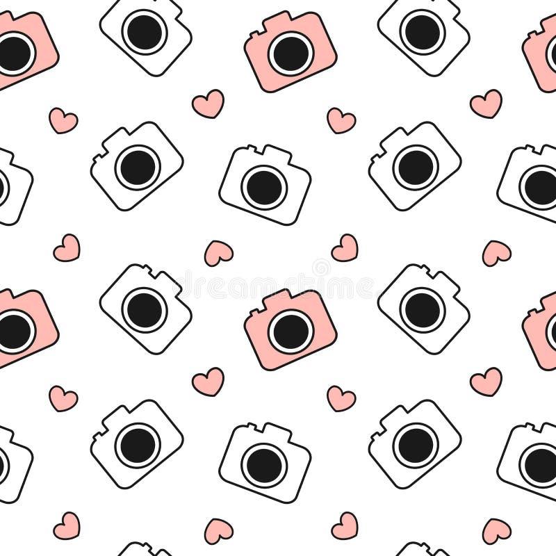 逗人喜爱的可爱的黑白和红色照相机无缝的样式背景例证 向量例证
