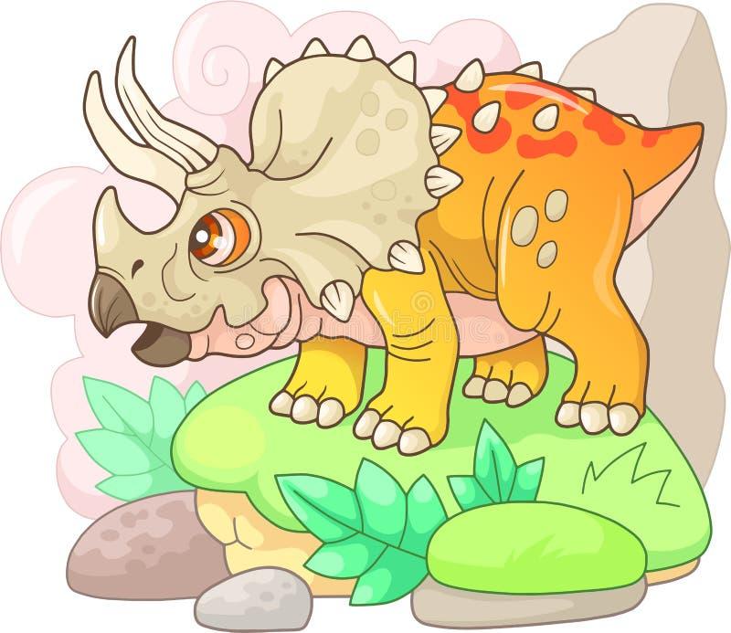 逗人喜爱的史前恐龙三角恐龙,滑稽的例证 库存例证
