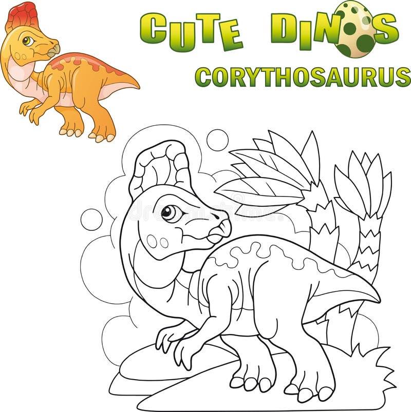 逗人喜爱的史前恐龙冠龙,滑稽的例证 向量例证