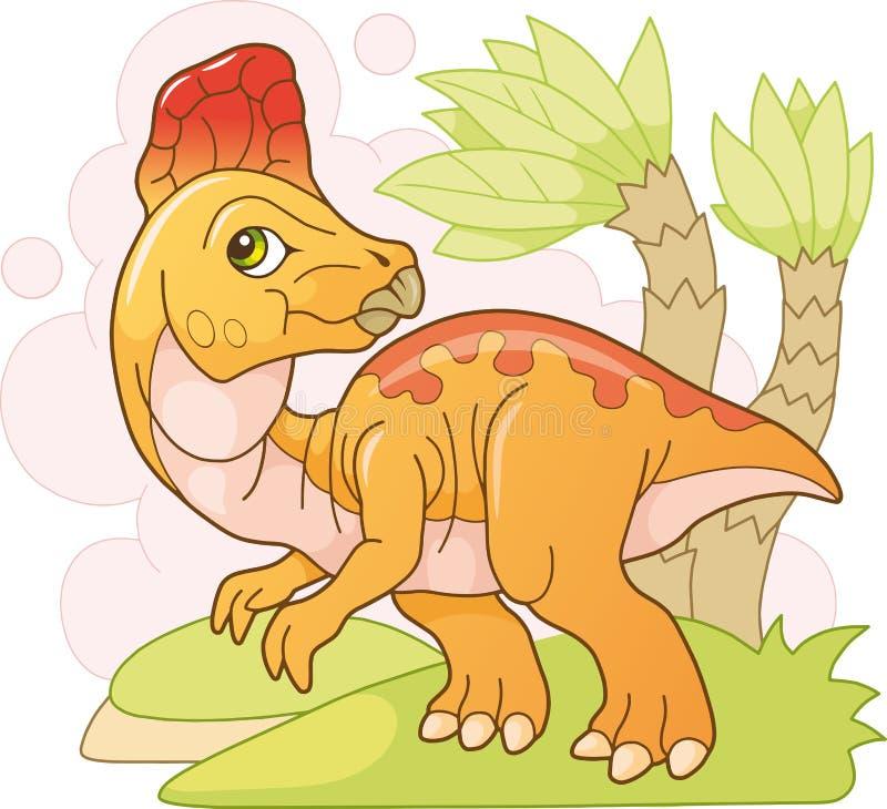 逗人喜爱的史前恐龙冠龙,滑稽的例证 库存例证