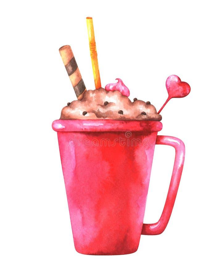 逗人喜爱的咖啡杯的手画水彩例证 免版税图库摄影