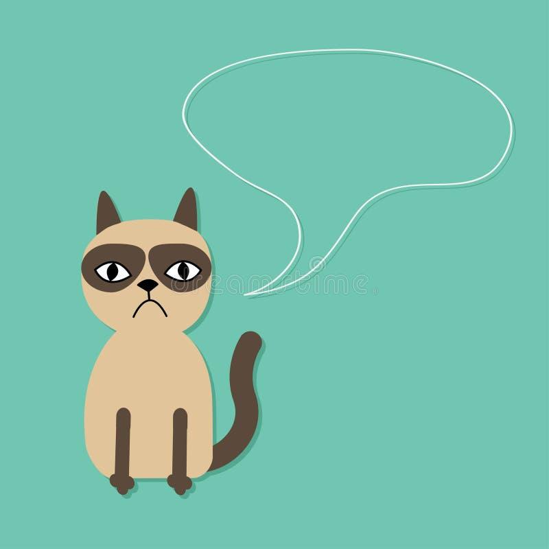 逗人喜爱的哀伤的脾气坏的暹罗猫和讲话在平的设计样式起泡 向量例证