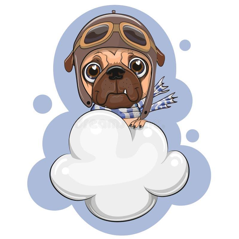 逗人喜爱的哈巴狗狗在云彩飞行 向量例证