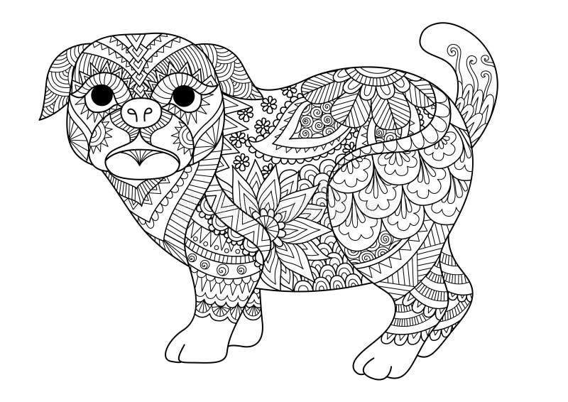 逗人喜爱的哈巴狗狗线艺术设计设计元素的, T恤杉设计和成人彩图页 也corel凹道例证向量 皇族释放例证