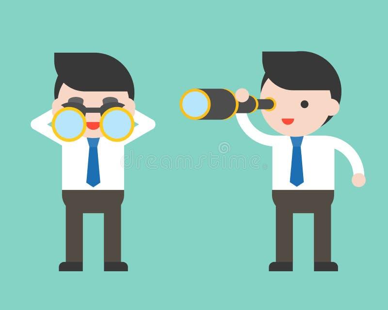 逗人喜爱的商人或经理有双筒望远镜和单眼的范围的, 皇族释放例证