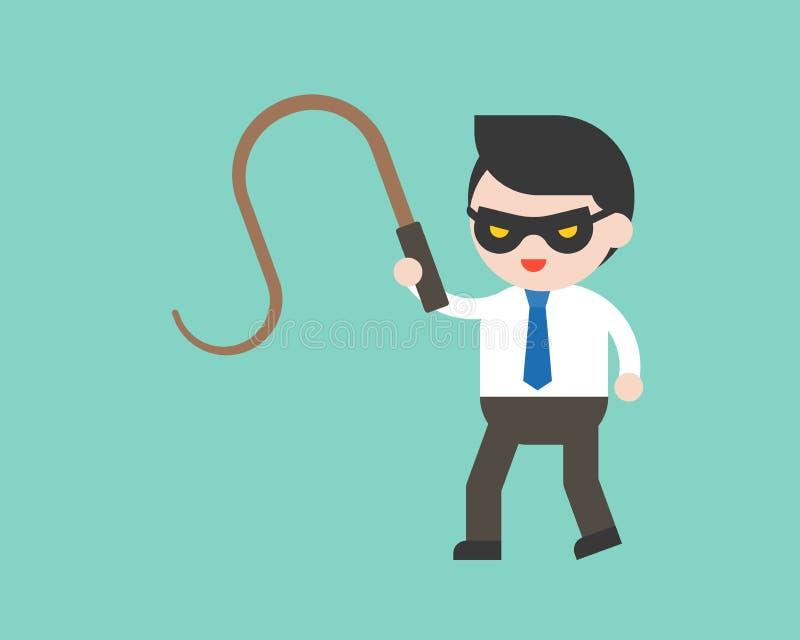逗人喜爱的商人或经理有面具和鞭子的,立即可用的cha 皇族释放例证