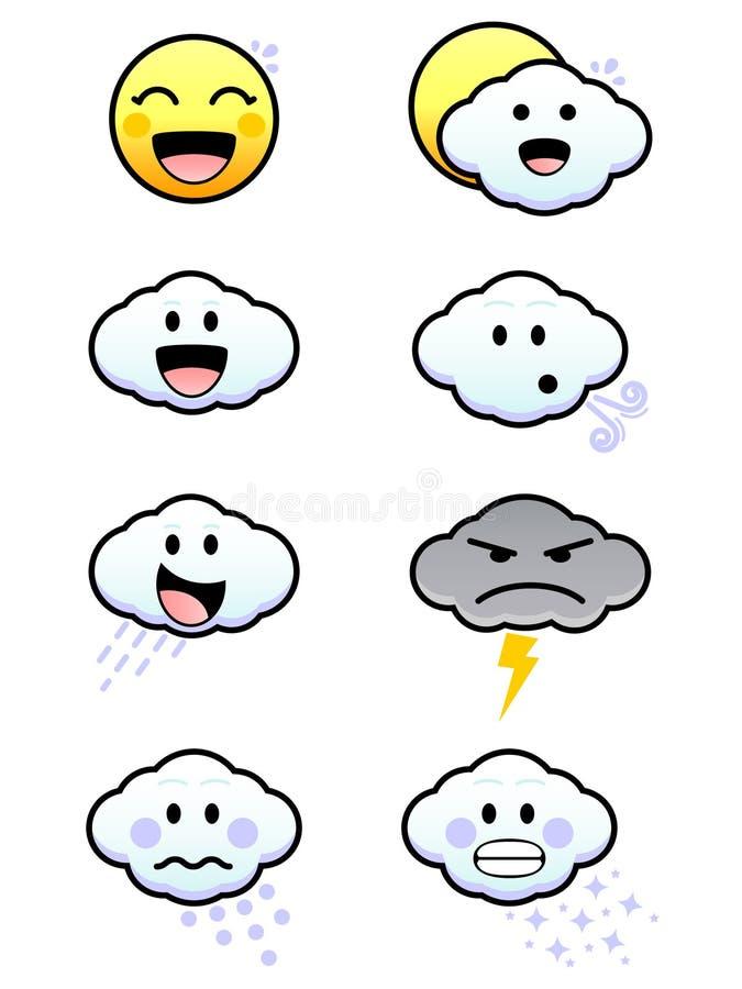 逗人喜爱的图标天气 向量例证