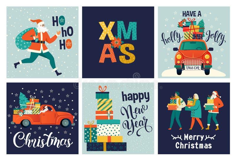 逗人喜爱的圣诞快乐和新年快乐的汇集用途礼品券的 设置可印的手拉的假日海报 向量例证