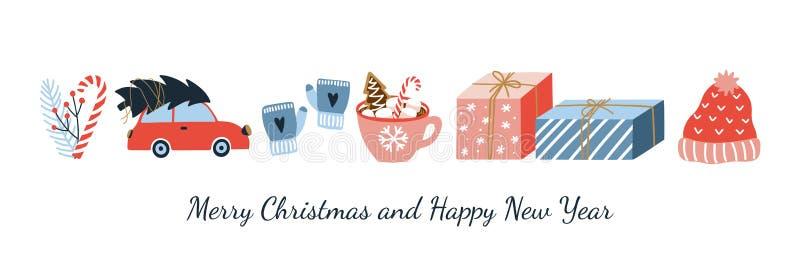逗人喜爱的圣诞快乐和新年快乐问候横幅 向量例证
