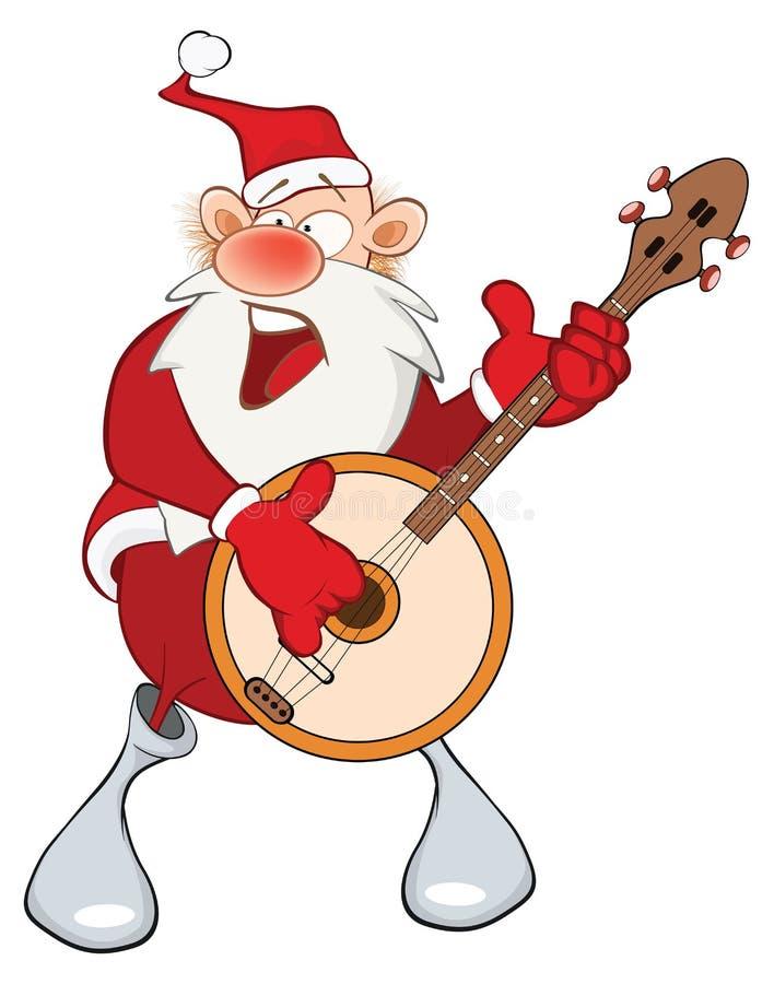 逗人喜爱的圣诞老人和班卓琵琶的例证 背景漫画人物厚颜无耻的逗人喜爱的狗愉快的题头查出微笑白色 向量例证