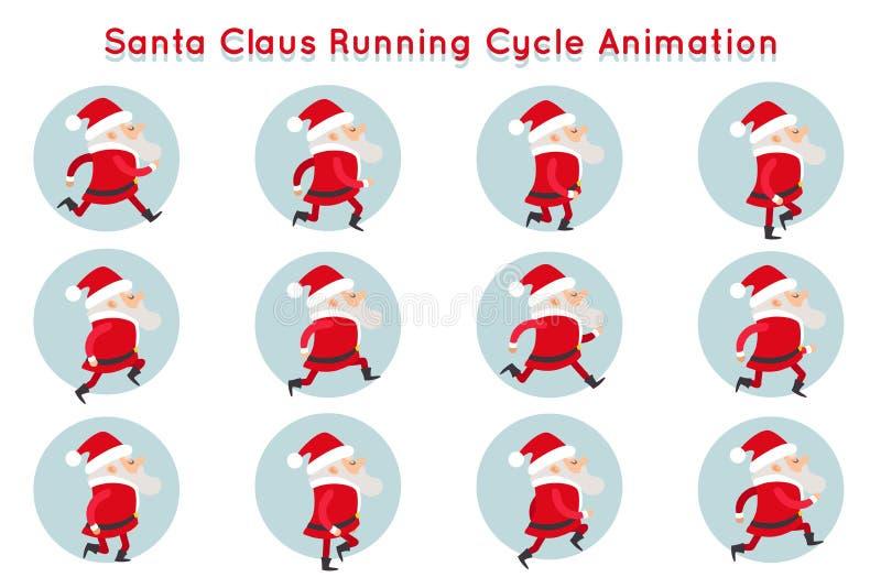 逗人喜爱的圣诞老人滑稽的运行周期动画漫画人物构筑传染媒介例证 向量例证