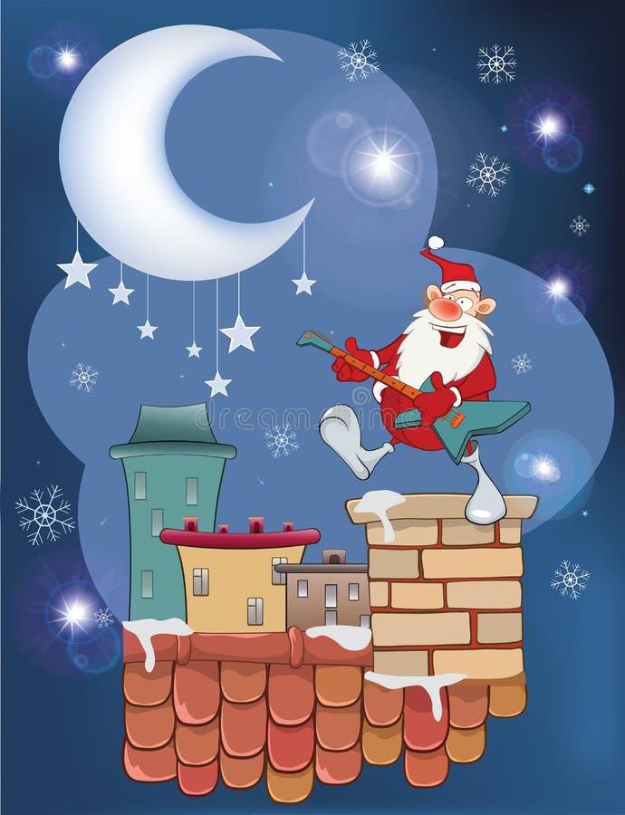 逗人喜爱的圣诞老人爵士乐吉他弹奏者的例证屋顶的 库存例证