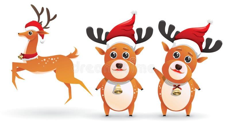 逗人喜爱的圣诞老人的驯鹿集合汇集 在白色背景隔绝的鹿的传染媒介例证激动另外姿势 库存例证