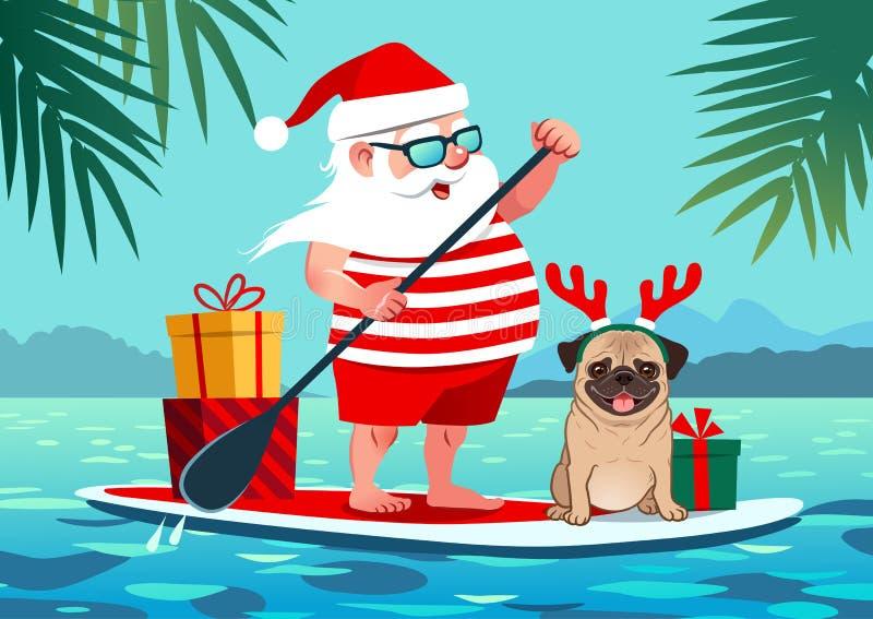 逗人喜爱的圣诞老人站立有哈巴狗狗和礼物的明轮轮叶 向量例证