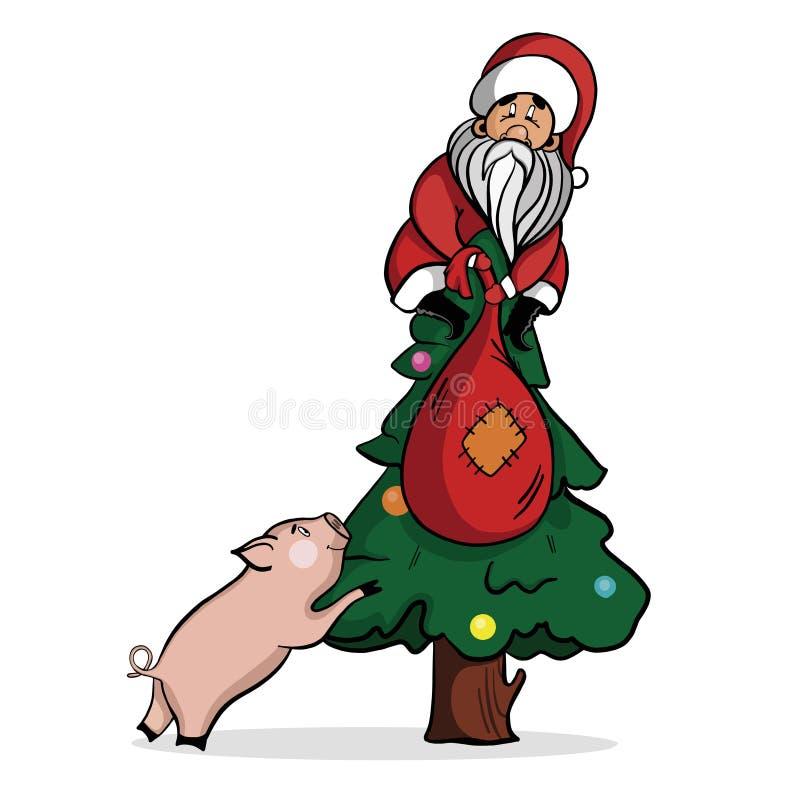 逗人喜爱的圣诞老人项目坐与袋子的一棵圣诞树礼物 库存例证