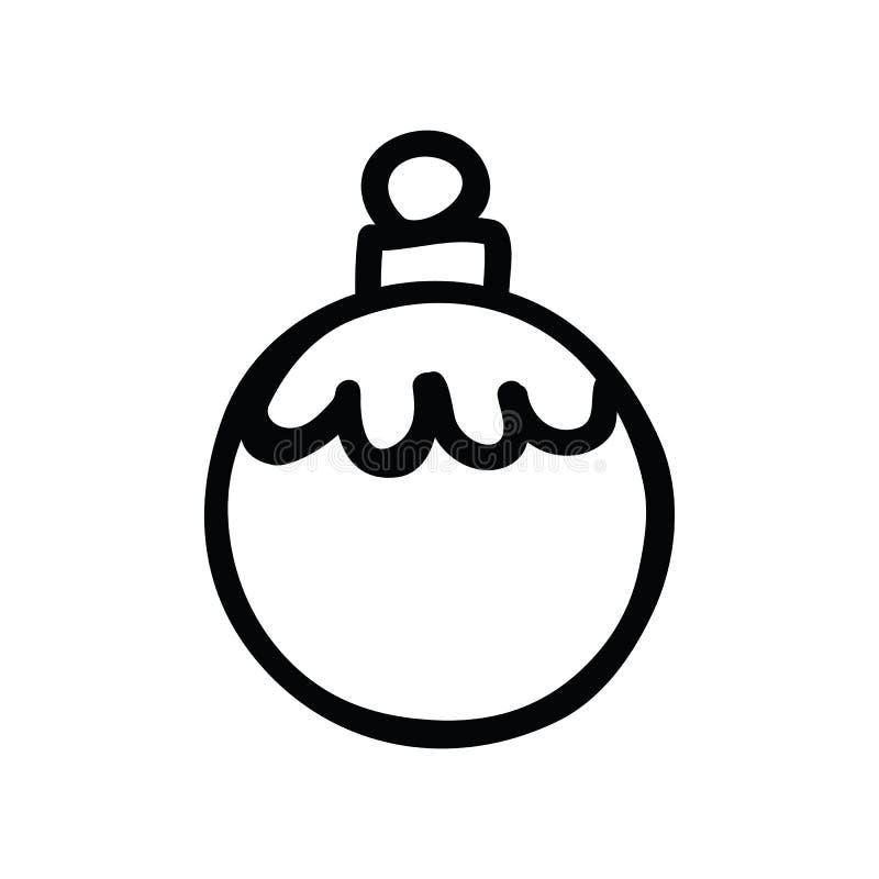 逗人喜爱的圣诞节中看不中用的物品lineart动画片传染媒介例证主题集合 手拉的被隔绝的欢乐单色树 皇族释放例证
