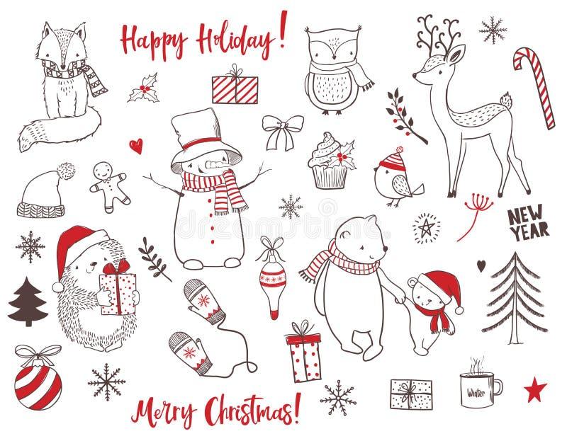 逗人喜爱的圣诞节动物和元素集 库存例证