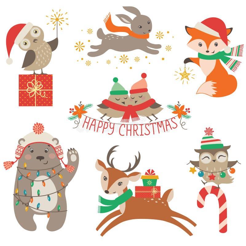 逗人喜爱的圣诞节动物 向量例证