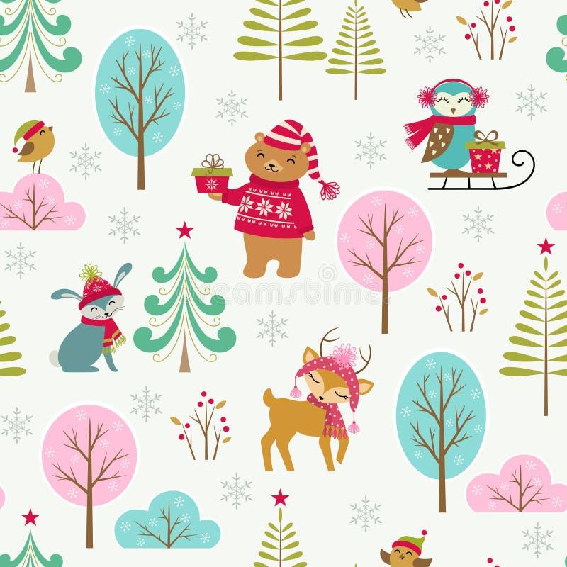 逗人喜爱的圣诞节森林样式 向量例证