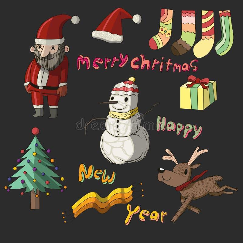 逗人喜爱的圣诞节汇集集合 库存图片