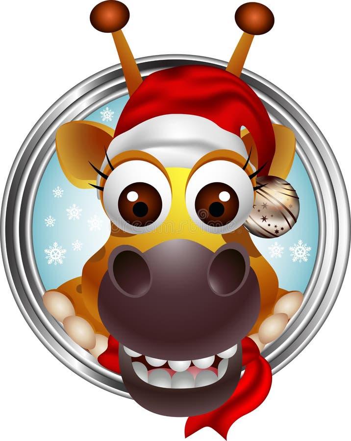 逗人喜爱的圣诞节长颈鹿题头动画片 向量例证