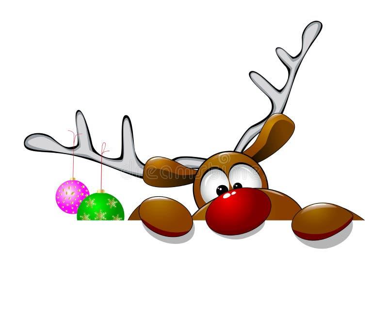 逗人喜爱的圣诞节驯鹿吕多尔夫 库存照片