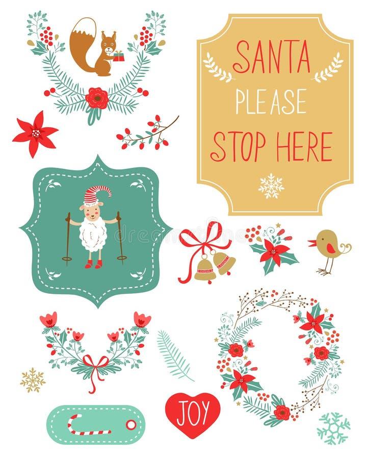逗人喜爱的圣诞节clipart 库存例证
