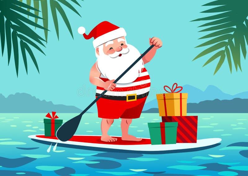 逗人喜爱的在一个立场的圣诞老人简而言之和T恤杉桨公猪 皇族释放例证
