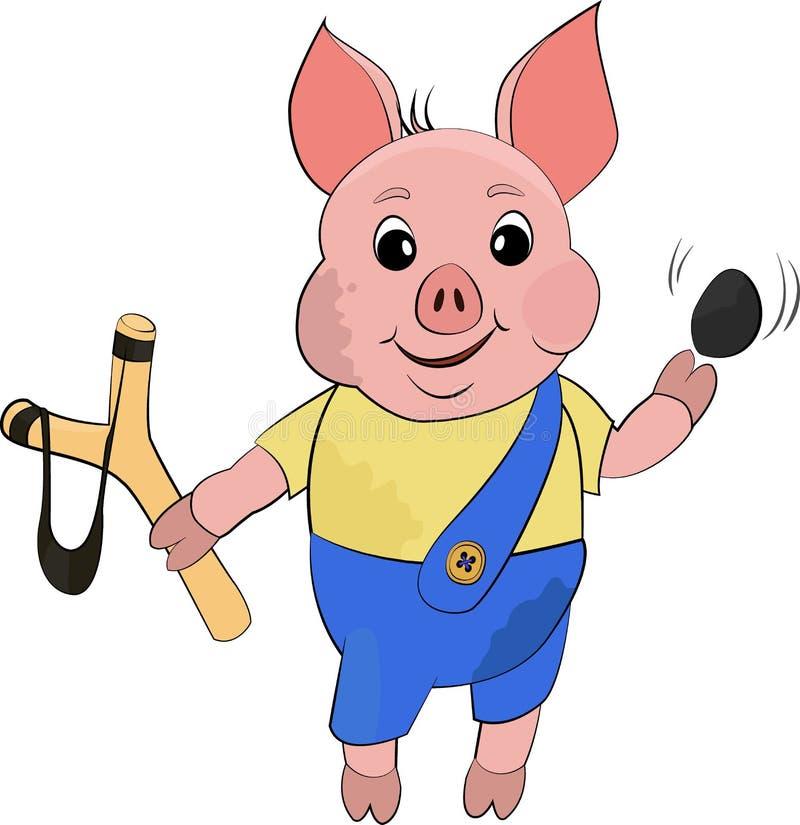 逗人喜爱的在动画片样式的恶霸肮脏的猪 在白色背景的滑稽的传染媒介例证 皇族释放例证
