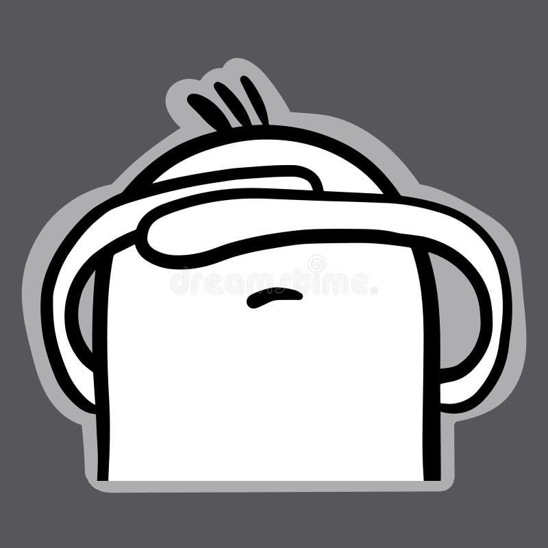 逗人喜爱的在动画片样式的蛋白软糖facepalm手拉的贴纸 库存例证