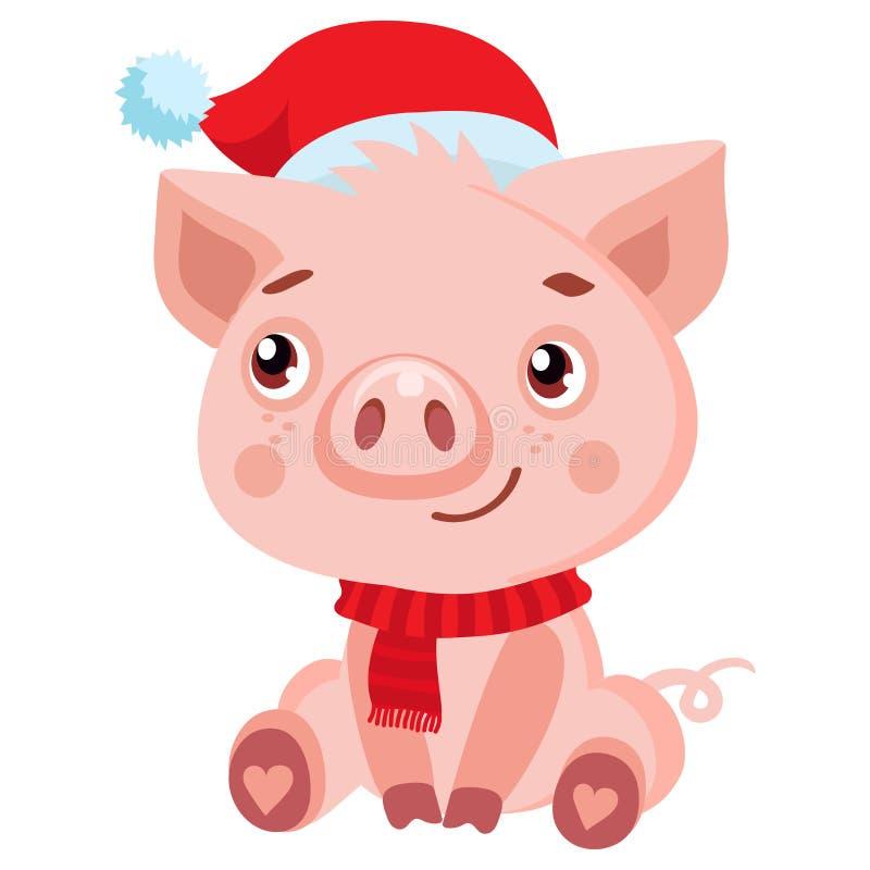 逗人喜爱的在圣诞老人帽子的动画片愉快的小猪 圣诞节和新年传染媒介 向量例证