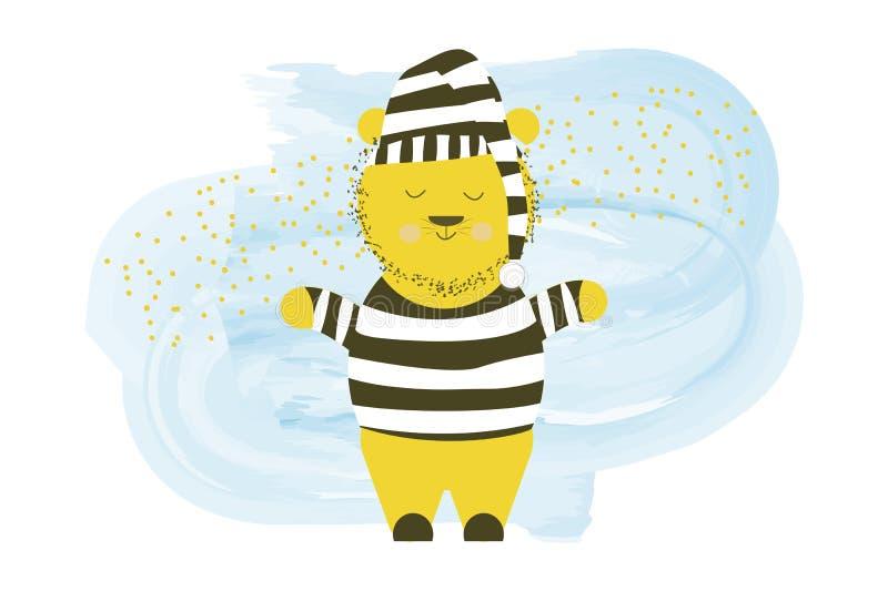 逗人喜爱的在女睡袍的传染媒介困熊-动画片手图画例证 向量例证