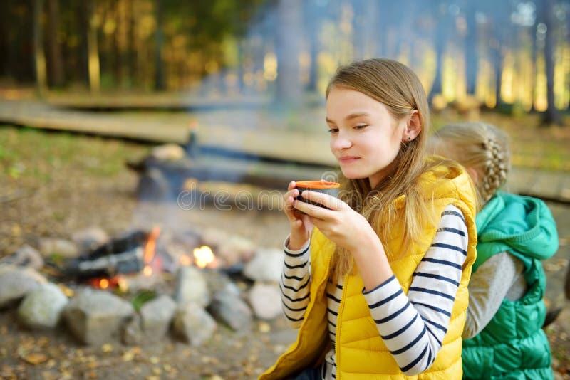 逗人喜爱的在棍子的少女饮用的茶和烤蛋白软糖在篝火 孩子获得乐趣在阵营火 野营与孩子 库存照片