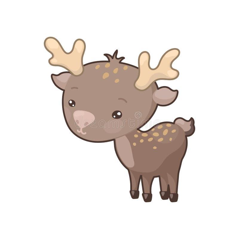 逗人喜爱的在白色背景的鹿五颜六色的象 森林地动物clipart 逗人喜爱的棕色驯鹿剪贴美术 向量例证