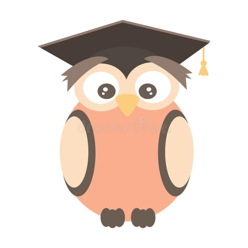 逗人喜爱的在白色背景隔绝的动画片传染媒介猫头鹰佩带的毕业盖帽滑稽的例证 库存例证