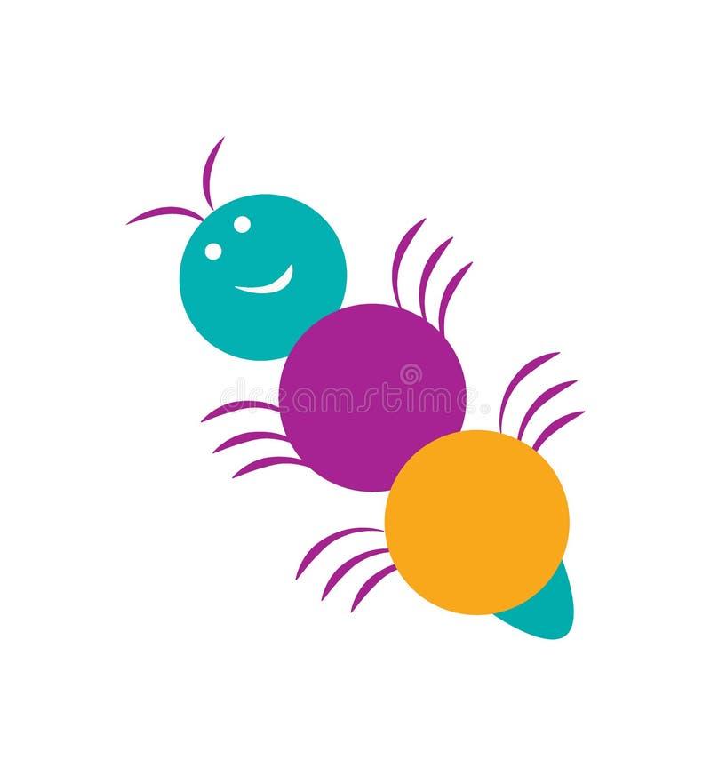 逗人喜爱的在白色背景隔绝的动画片小的蚂蚁 o 皇族释放例证