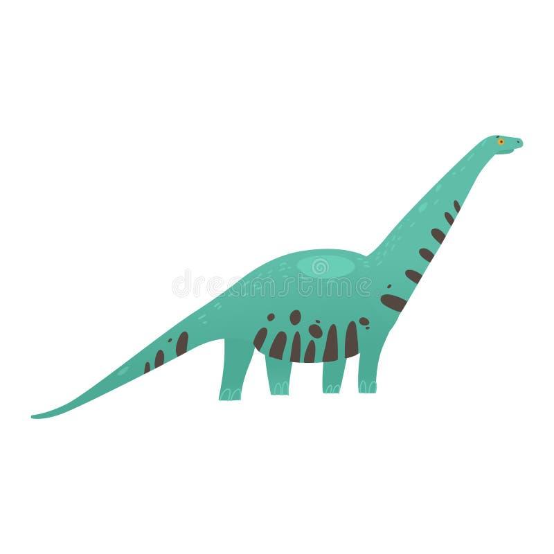 逗人喜爱的在白色背景隔绝的恐龙长的收缩的动画片平的例证 皇族释放例证