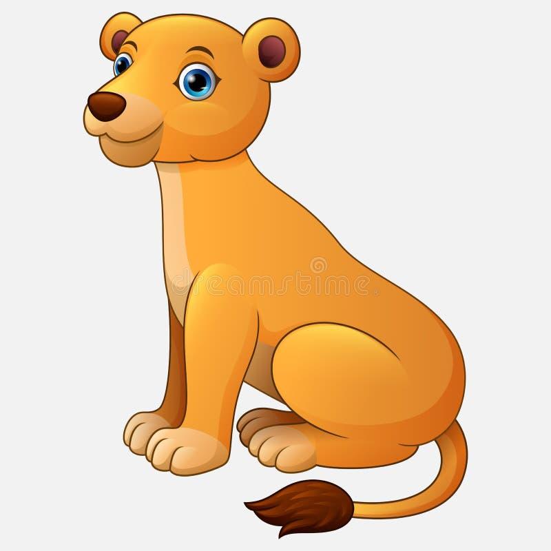逗人喜爱的在白色背景隔绝的雌狮坐的动画片 皇族释放例证